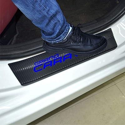 SENYAZON Car Threshold Pedal Sticker for Dodge Grand Caravan Decoration Scuff Plate Carbon Fibre Vinyl Sticker Car Accessories car-Styling (Blue): Automotive