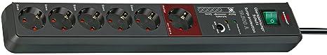 Brennenstuhl Secure-Tec, Steckdosenleiste 6-fach mit Überspannungsschutz und Master Slave Funktion (3m Kabel und Schalter) Fa