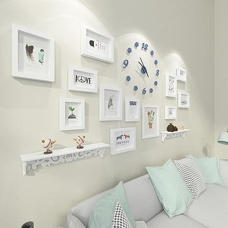 Ludage Decoración hogareña Foto Marco Pared Reloj portaretrato Colgante Pared salón Marco combinación Imagen