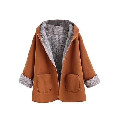 Womens Winter Designer Coats Fashion Women Khaki Contrast Sherpa Lining Single Button Hooded Coat