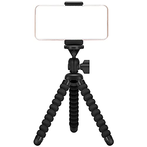 Ailun iPhone Tripod,Tripod Mount/Stand,Compact Phone Holder,Compatible Camera iPhone X/Xs/XR/Xs Max/8/8Plus,7/7 Plus,6/6s,6/6s Plus,Galaxys8/s9/s7/s7 Edge,Note8/9,Note5 More Camera&Cellphone[Black]