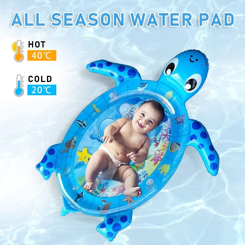 Dprofy Baby Tummy Time Water Mat - 40X33 Inch Inflatable Baby Water Mat Play Mat for 3 6 9 to 12 Months Baby Boy or Girl, Turtle Shape Newborn Baby Toys