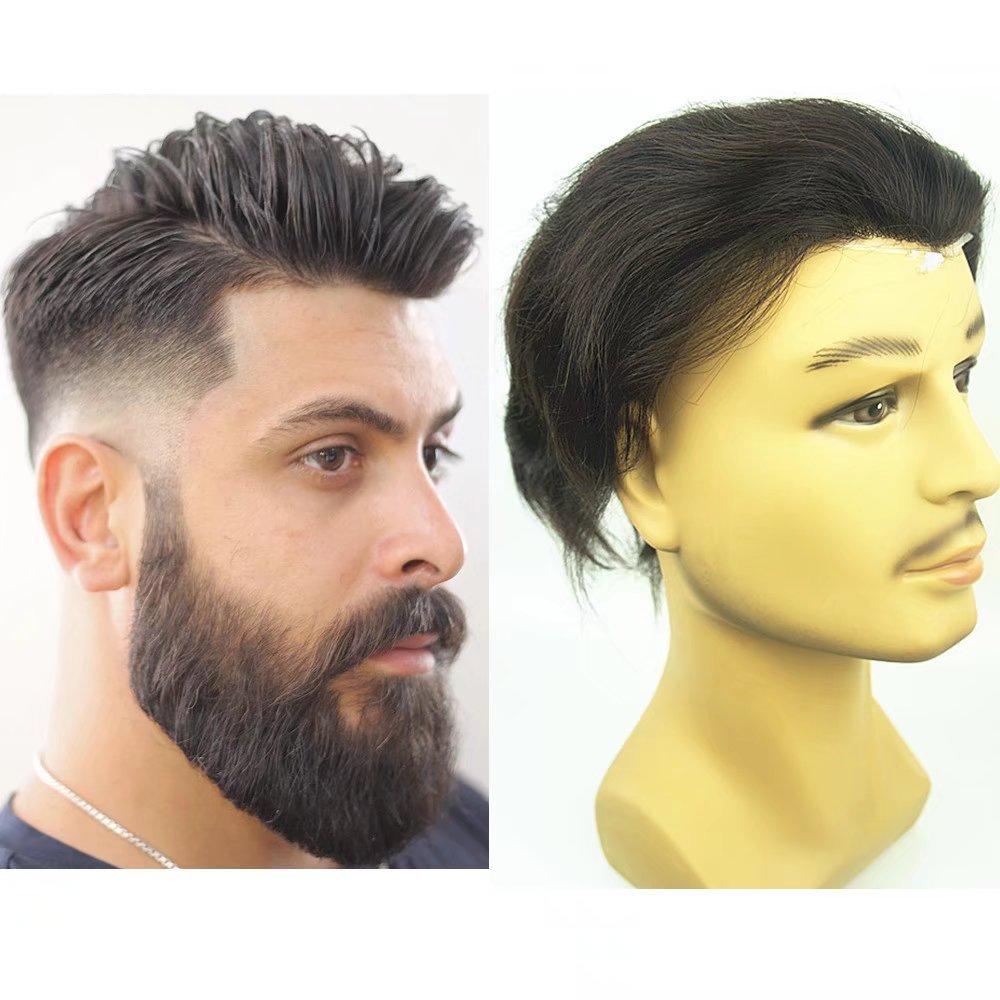 PU Skin Toupee for Men, N.L.W. European Human Hair Pieces for Men with 10'' x 8'' PU Thin 0.04cm Skin, #1B Off Black