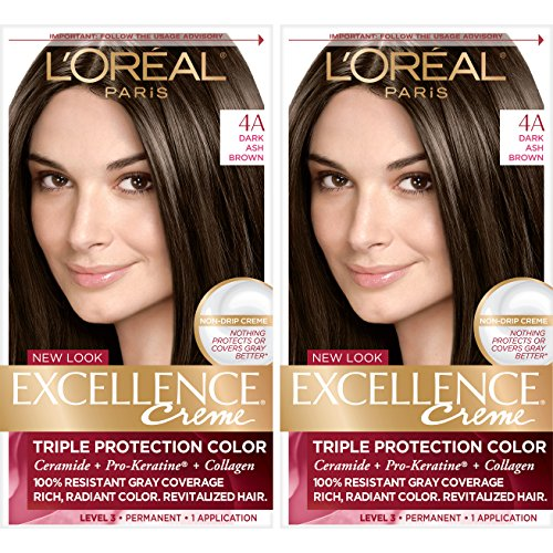 L'Oréal Paris Excellence Créme Permanent Hair Color, 4a Dark Ash Brown, 2 COUNT 100% Gray Coverage Hair Dye