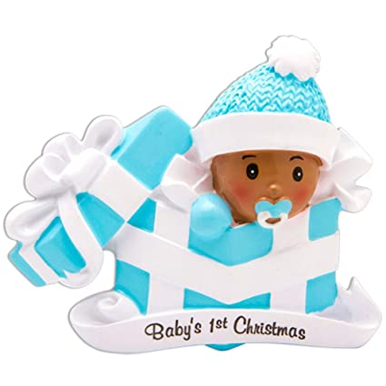 Amazon personalized babys 1st christmas boy in present personalized babys 1st christmas boy in present ornament african american with blue hat in package negle Choice Image