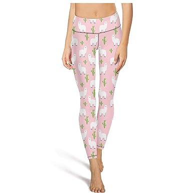 ad75e2ea58d15 HOSNY Cute Lama Doodle Cactus Collection Womens high Waisted Yoga Pants  Workout Pants