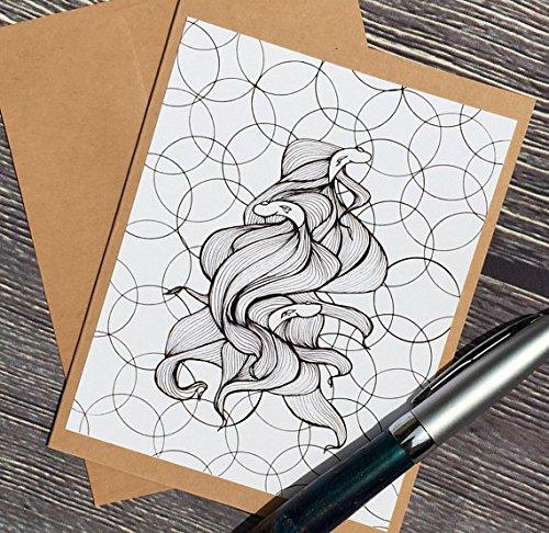 (Betta Spawn - Fish Inspired Ink Drawing Art Print - Kraft Note Card)