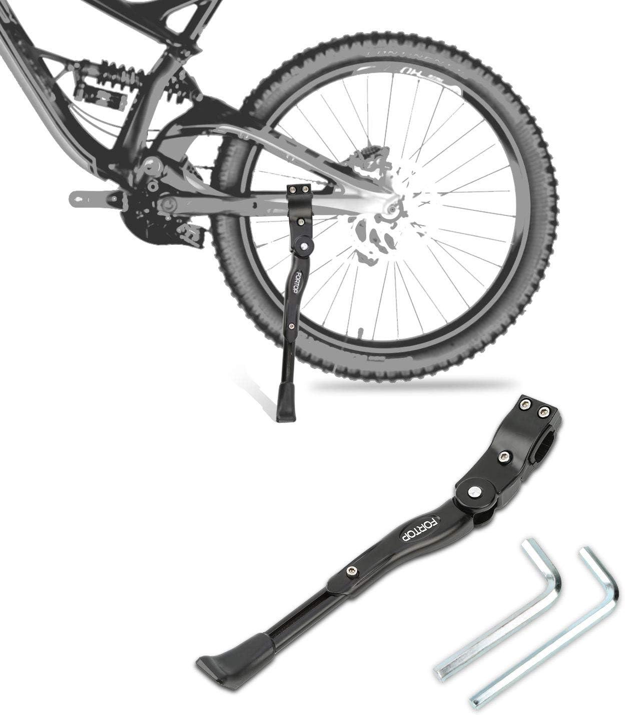 "FORTOP Bike Support Bicycle Kickstand Adjustable Aluminum Alloy for 22"" 24"" 26"" 28"" Mountain Bike/Road Bicycle/BMX/MTB/City Commuter Bike/Kids Bike/Sports Bike/Adult Bike/700 Road Bike"