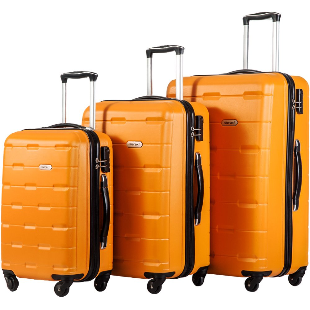 Lightweight Luggage Set 3 Pcs Expandable Hardside Spinner Suitcase by COZYWELL Champagne
