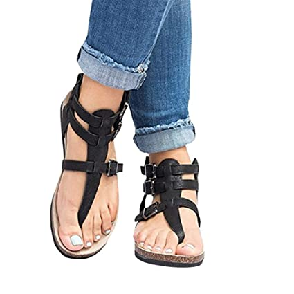 9ab4bdbe4a8f4 Amazon.com: Women's Gladiator Sandals, Casual Ankle Buckle Strap ...