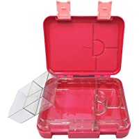 LunchGO Kids School Bento-Style Lunch Box   Leak-Proof 4 to 6-Compartments   Microwave and Dishwasher Safe   BPA-Free and Food-Safe Materials (Candy Red)