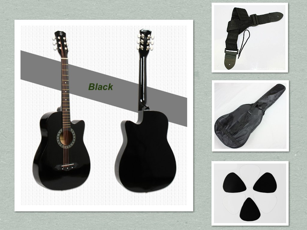 New 38 Beginner Acoustic Guitar With Case, Strap, and Pick Multiple Colors (Black) Deviser cowboy38