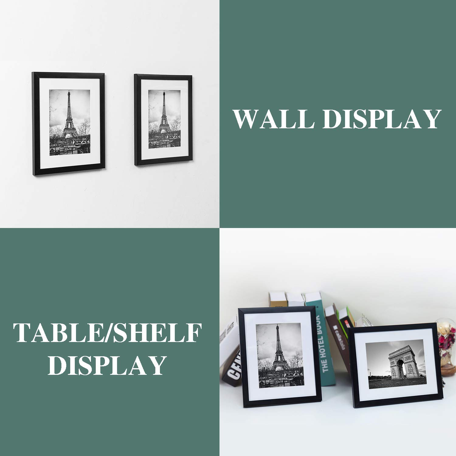 upsimples 8x10 Picture Frame with Mat Set of 10,Black Picture Frames for Wall or Tabletop Display,Gallery Wall Frame Collage by upsimples (Image #2)