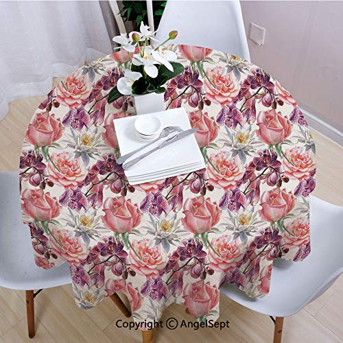 AngelSept Tablecloths Easy Care,Watercolor Rose and Orchid Lily Flowers Motif Nature Inspired Petals Artwork,55