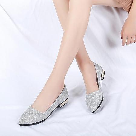 Zapatos de Vestir para Mujer Otoño 2018 PAOLIAN Calzado de Dama de Fiesta Lentejuelas con Tacón Ancho Cómodos Boda Calzado de Trabajo Planos Bajos Moda Zapatos con Punta