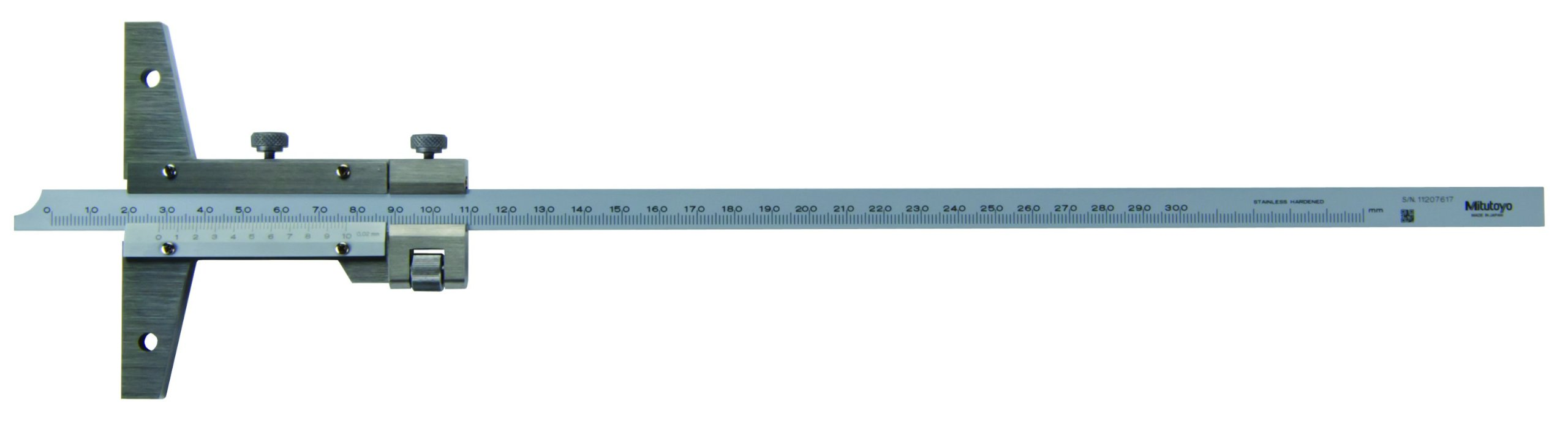 Mitutoyo 527-103 Vernier Depth Gauge, Caliper Type, 0-300mm Range, 0.02mm Graduation, +/-0.04mm Accuracy, With Fine Adjustment Feature