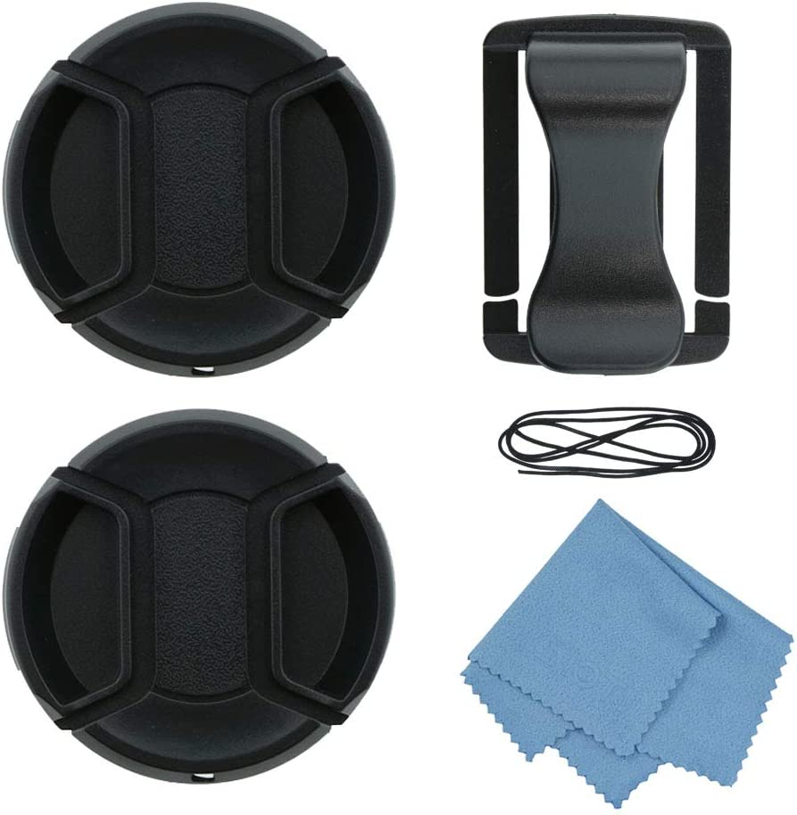 SIOTI 55mm Lens Cap with 2pieces Caps + Cap Clip + Cleaning Cloth for Nikon/Canon/Sony/Fuji/Leica/Tamron/Pentax/Panasonic/Olympus etc.Camera Lens