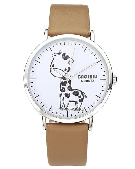 jsdde Relojes, Vintage Cute dibujos animados dibujo jirafa reloj de pulsera mujer Reloj de hombre piel pulsera analógico de cuarzo reloj, caqui: Amazon.es: ...