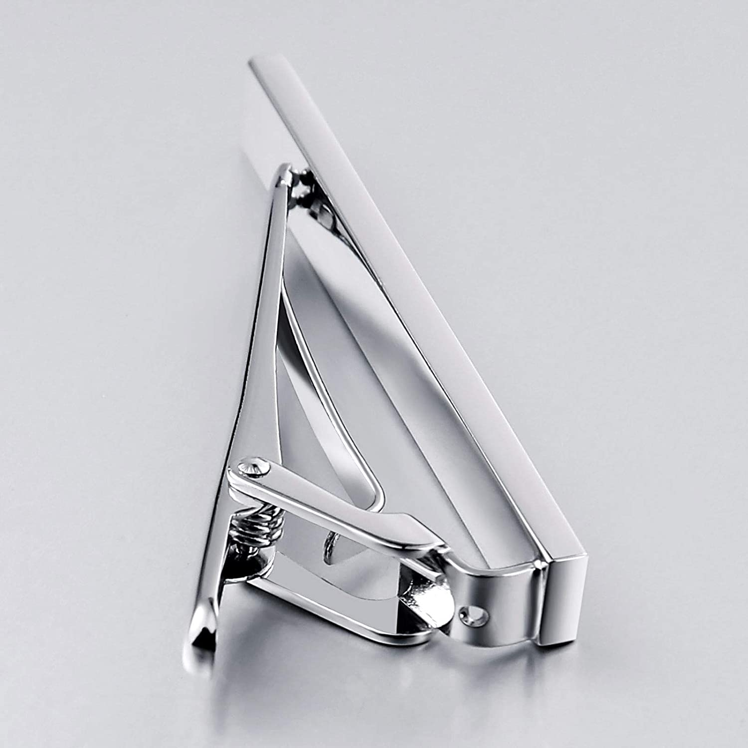 MoAndy Stainless Steel Tie Clips for Mens Rectangular Red Square Cubic Zirconia for Business Wedding