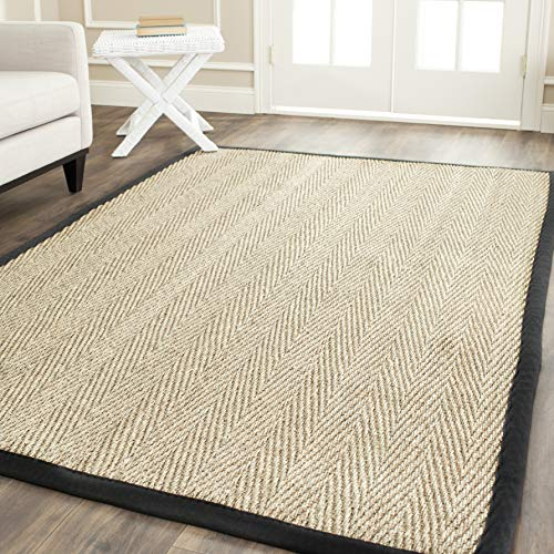 (Safavieh Natural Fiber Collection NF115C Herringbone Seagrass Area Rug, 6' x 9', Natural/Black)