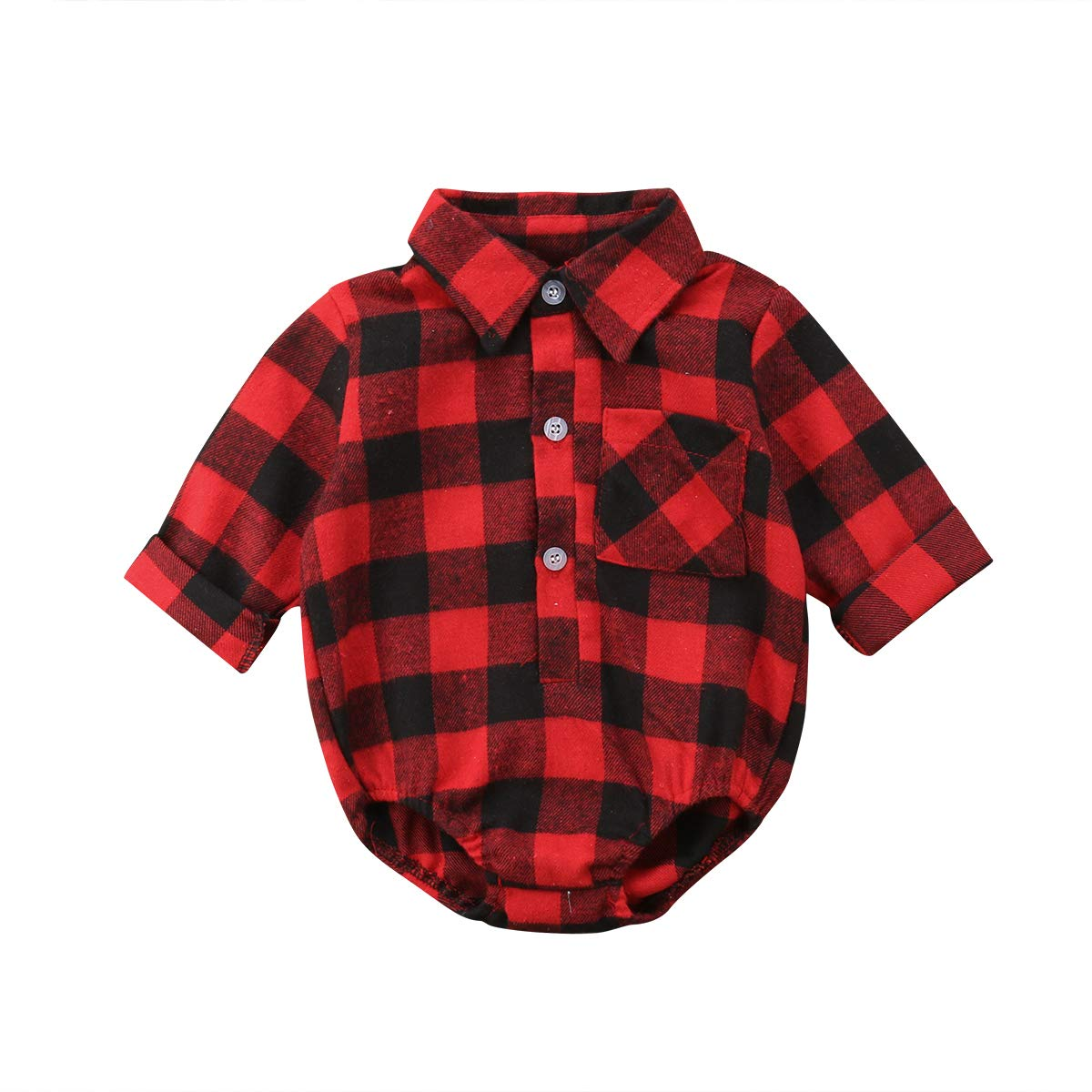 Canrulo Infant Baby Long Sleeve Romper Christmas Deer Plaid Shirt Jumpsuit Button-up Playsuit Winter Outfits