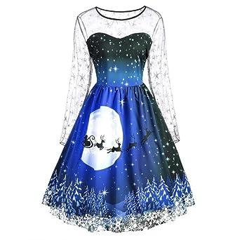 0f6e16b468325 Cooljun 2019 Herbst Winter Mode Damen Kleider Frauen Vintage Frohe  Weihnachten Print Langarm Mesh Abend Party