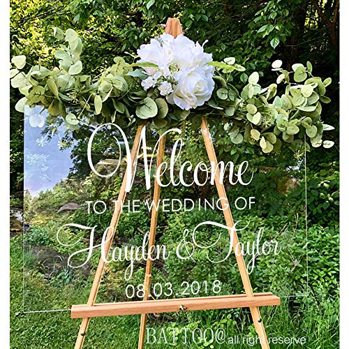BATTOO Welcome Wedding Decal Personalized Couples Names and Date Vinyl Decal Sticker Rustic Wedding Sign Custom Lettering Elegant Wedding 16