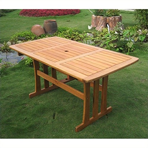 International Caravan TT-RE-007-IC Furniture Piece Royal Tahiti Outdoor Wood Rectangular Dining (Balau Solid Wood)