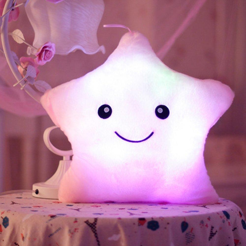 Missley LED estrella cojín almohada brillante luz hasta coloridos brillantes LED estrella peluche almohadas muñeca de juguete de peluche para decoración regalos (Blue) QQ-Star-pillow-Blue