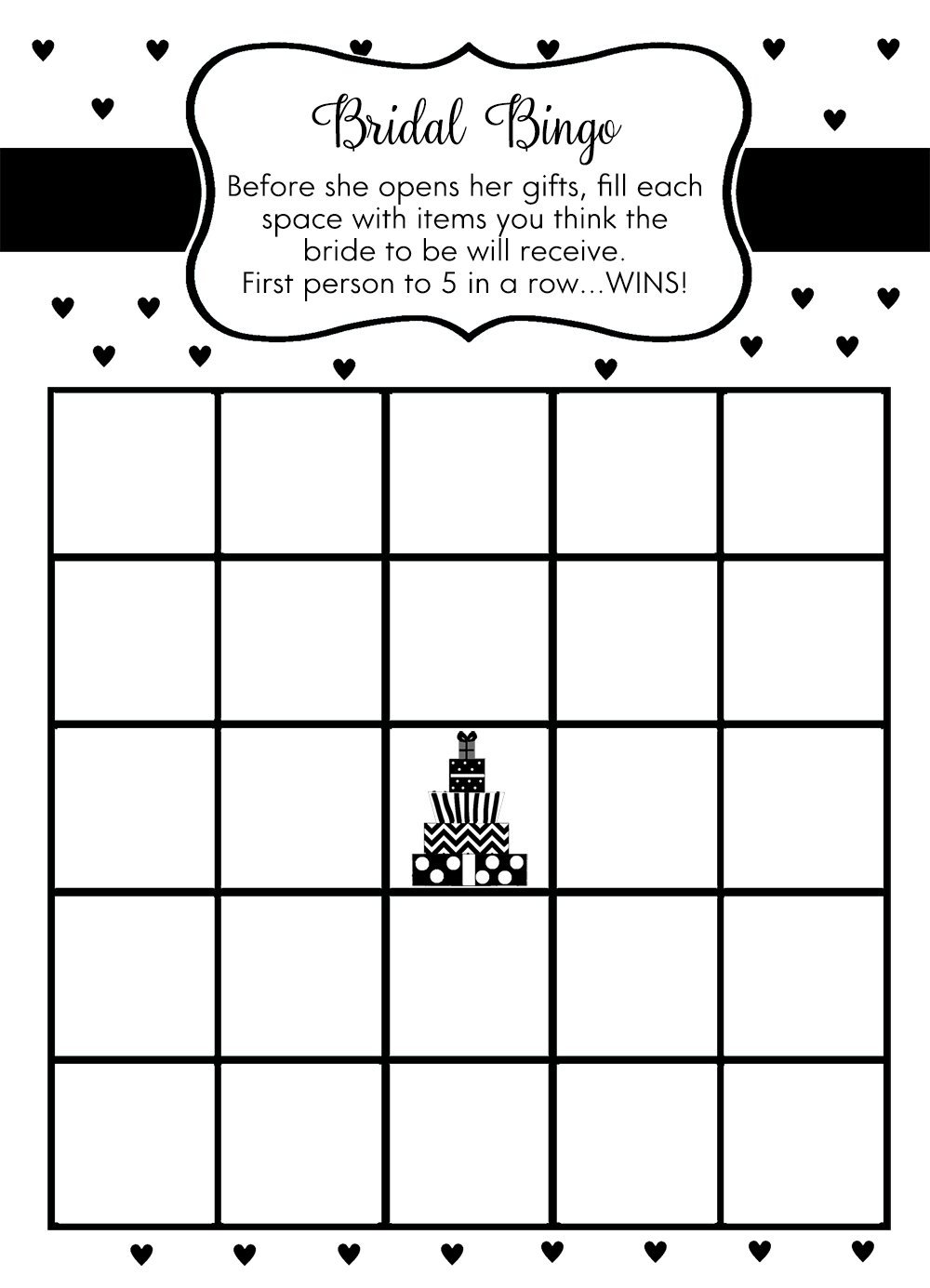 Presents Full of Love, Bingo Games, Black, White, Wedding Shower, Wedding Shower Games, 24 Printed Bingo Game Cards by The Invite Lady