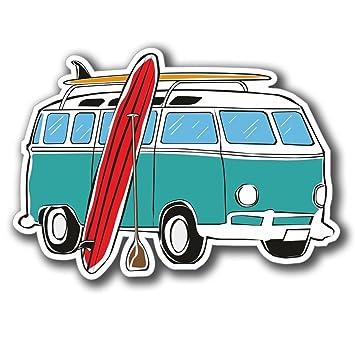 2 X Camper Van Surf Surfeur Autocollant Pour Fenêtre Autocollant De