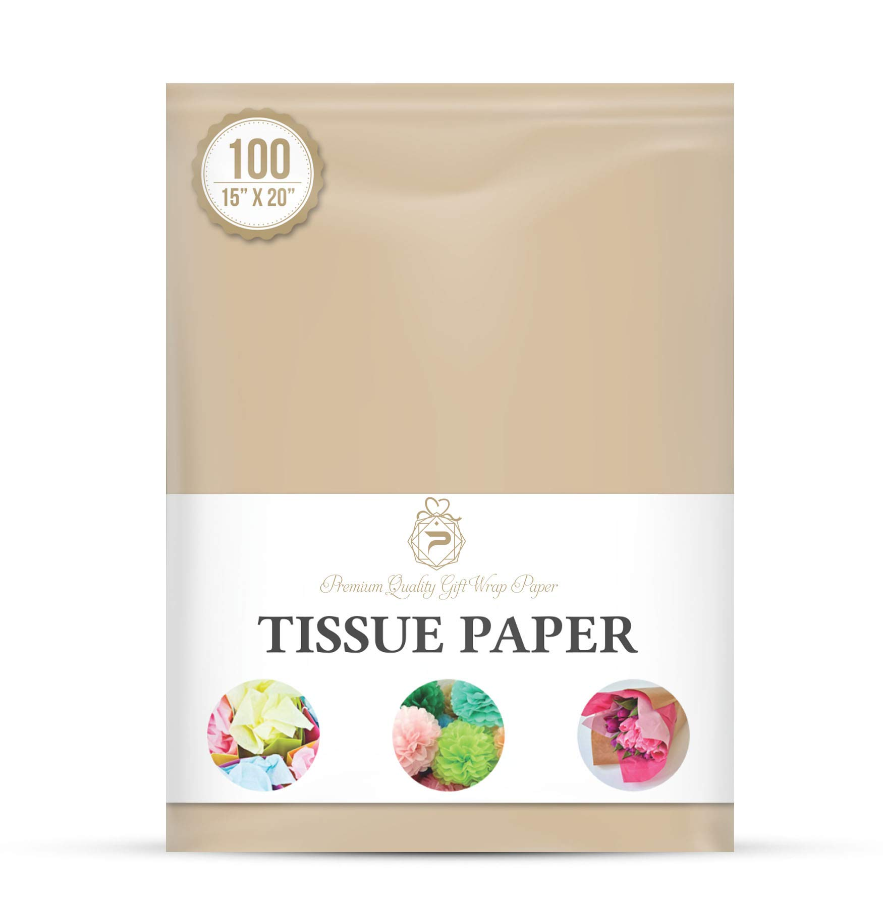 Premium Quality Gift Wrap Paper® for Gift Wrapping Paper Crafts, Packing, DIY Crafts and More. | Neutral | 15 x 20 100 Sheets