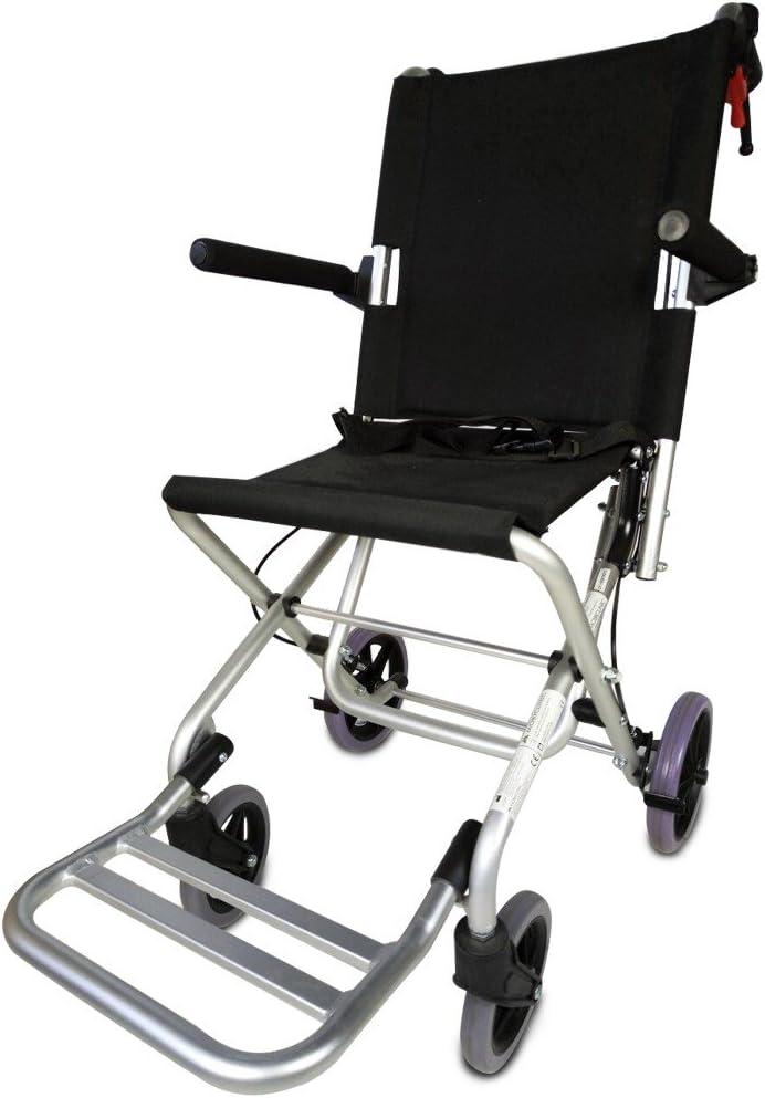 Mobiclinic, Modelo Neptuno, Silla de ruedas ortopédica, de tránsito, para minuválidos, plegable, de aluminio, freno en manetas, reposapiés, reposabrazos, asiento, ultraligera, color Negro