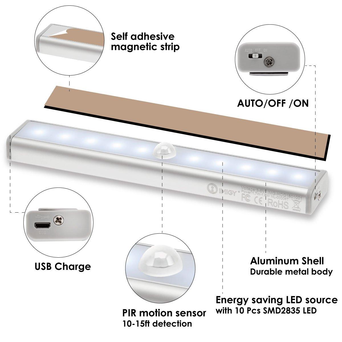 imiGY Wireless Motion Sensor Lights,Portable Little Light LED Under Cabinet Lights 10 LED USB Rechargeable Closet Lights, 6000K Cool White, 2-Pack
