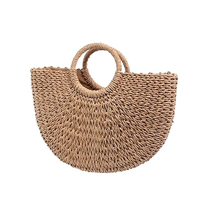 Andear Womens Vintage Straw Woven Handbags Large Casual Summer Beach Tote Bags With Round Handle Ring by Andear