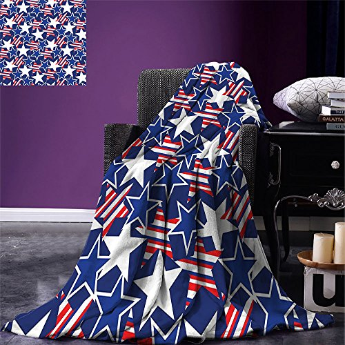 smallbeefly 4th of July Throw Blanket Stars and Stripes of Liberty and Freedom Patriotic American Pattern Warm Microfiber All Season Blanket for Bed or Couch Royal Blue Red White