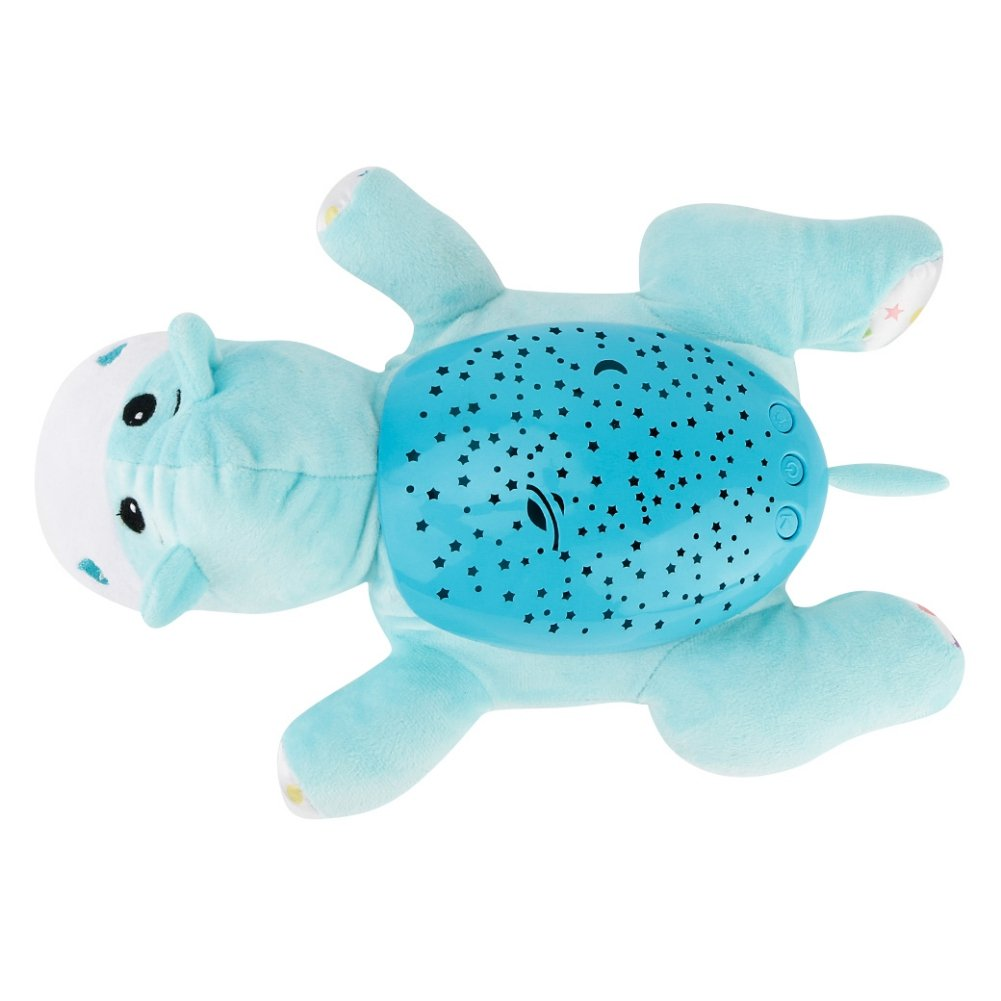 Tracfy LED Plush Stuffed Animal Toys Projector Baby Sleep Night Light Soothers Music Sky Star Lamp Toys For Baby Kids, Hippo