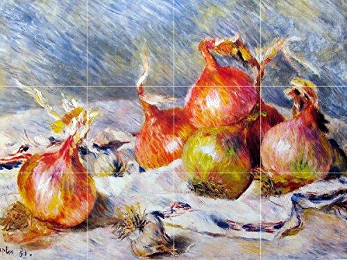 Still life onions vegetables by Pierre-Auguste Renoir Tile Mural Kitchen Bathroom Wall Backsplash Behind Stove Range Sink Splashback 4x3 4'' Marble, Matte by FlekmanArt