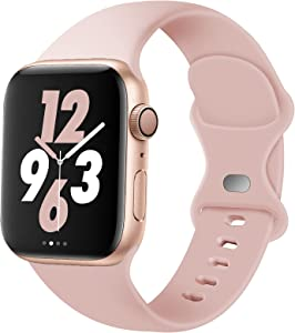 Acrbiutu Bands Compatible with Apple Watch 38mm 40mm 42mm 44mm, Replacement Soft Silicone Sport Strap for iWatch SE Series 6/5/4/3/2/1 Women Men, Pink Sand 38mm/40mm S/M
