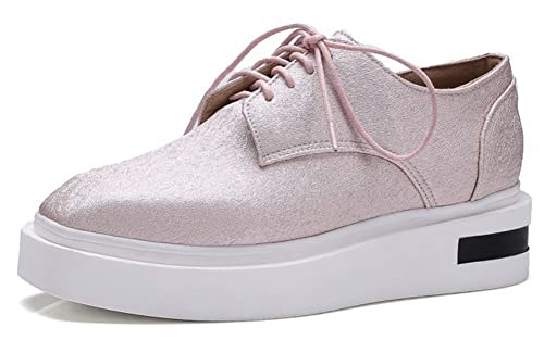 46fcaa83 Mofri Women's Trendy Square Toe Low Top Lace up Platform Sneakers Pink 4 B(M