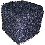 Design Accents Plush Hand Woven Pouf, 18-Inch by 18-Inch by 18-Inch, Black