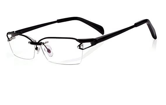 53b251bbcb5 Agstum Pure Titanium Half Rimless Glasses Frame Optical Eyeglasses Clear  Lens (Black