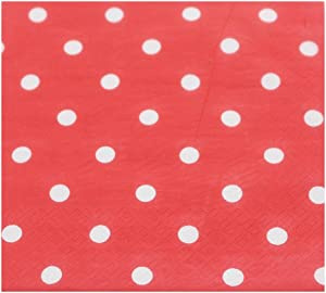 Youmewell Disposable Paper Napkins Red Polka Dot Napkins 60 Count