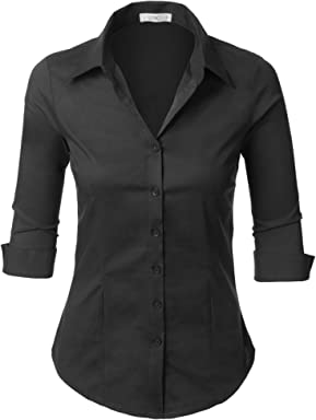 92c6107eb LE3NO Womens Roll Up 3/4 Sleeve Button Down Shirt with Stretch