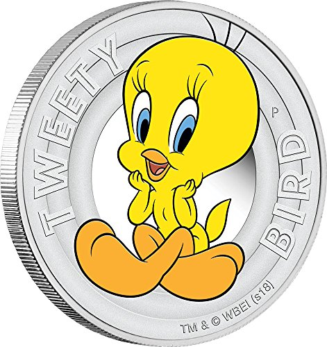 50 Cent Proof Coin - 2018 TV Looney Tunes PowerCoin TWEETY BIRD Silver Coin 50 Cents Tuvalu 2018 Proof