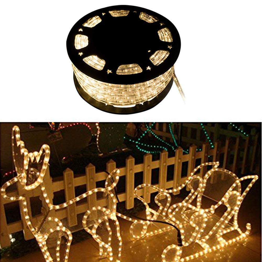 WALCUT 110V 150FT Flexible Crystal Clear PVC Tubing LED Rope Light Indoor/Outdoor Boat Decorative Party Christmas Holiday Business Restaurant Light Kit (Warm White)