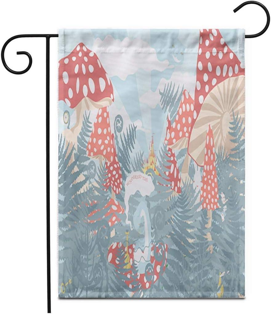 12.5 'x 18' Bandera de jardín País de Las Maravillas Paisaje Hongos Helechos y Hierba Caterpillar Cachimba Cheshire Banderas de Patio de casa Decorativas de Doble Cara al Aire Libre
