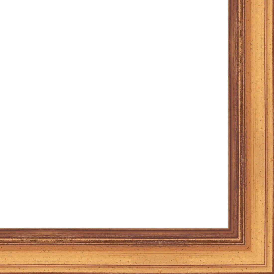Picture Frame Moulding (Wood) 18ft bundle - Traditional Antique Gold Finish - 1'' width - 7/16'' rabbet depth