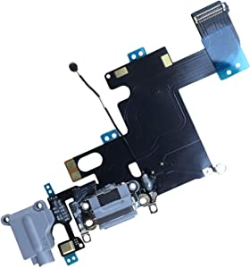 """UTechZH USB Charging Port Headphone Jack Dock Connector W/Mic Flex Cable Cellular Antenna Replacement Part Compatible for iPhone 6 4.7"""" All Carriers (Black)"""