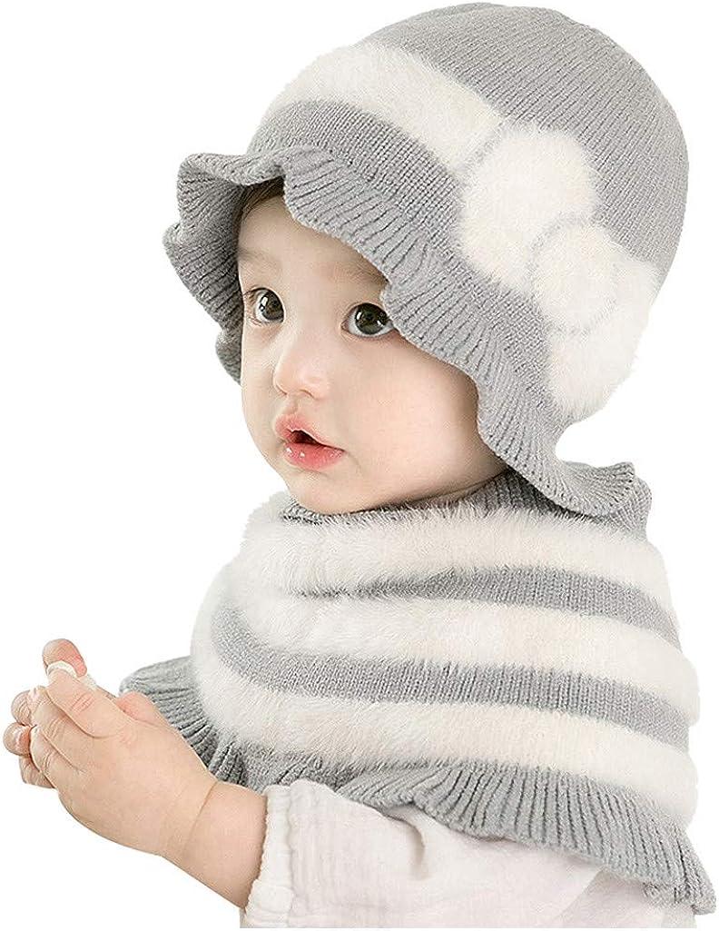 QinMMROPA Sombrero y Bufanda Chal de Punto para bebés niños niñas Gorra Rayas Gorra de Ganchillo de Invierno Sombrero Bebe Recien Nacido Sombrero Fiesta cumpleaños